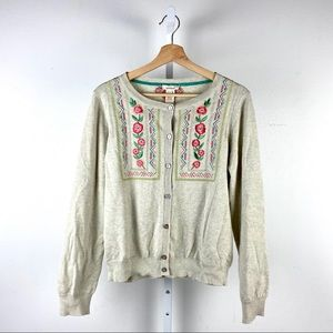 Sundance Embroidered Cardigan Sweater Floral L